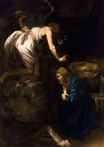 Caravaggio, Michelangelo Merisi da: The Annunciation. Fine Art Print/Poster. Sizes: A4/A3/A2/A1 (004247)